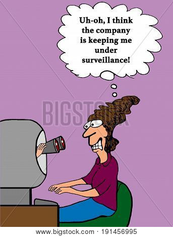 Business cartoon showing binoculars coming out of a computer spying on the user.