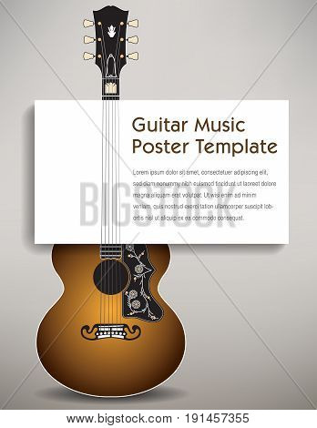 A guitar with a poster board in its strings to hold your message