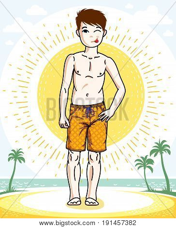 Little boy cute child standing wearing fashionable beach shorts. Vector human illustration. Fashion and lifestyle theme cartoon.