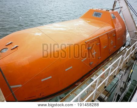 A Lifeboat In Case Of An Accident In The Port Or On A Ship. The