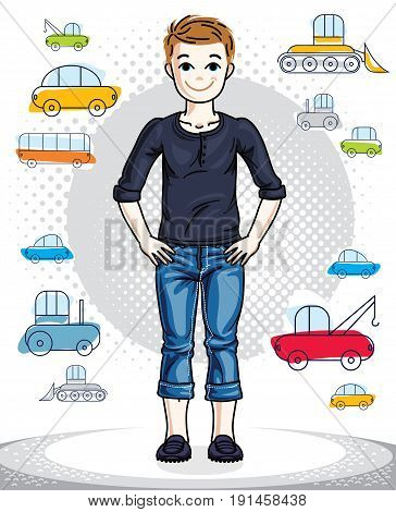 Teen cute little boy standing in stylish casual clothes. Vector pretty nice human illustration. Childhood lifestyle clip art.