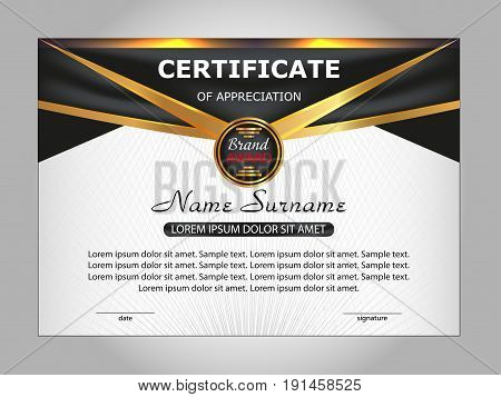 Template certificate of appreciation. Elegant design. Vector illustration.