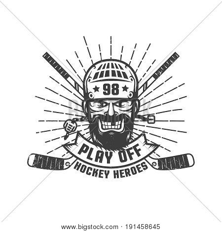 Hockey play off logo with bearded player in retro style. Worn texture on a separate layer and can be easily disabled.