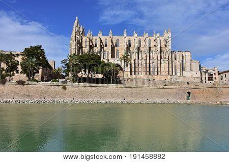 La Seu basilica,Palma de Majorca on Mallorca island,Spain