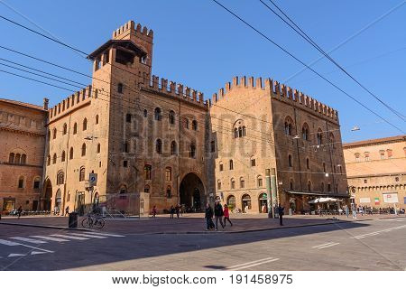 Bologna Italy - April 22 2017: Castle of King Enzo in Piazza Nettuno in Bologna in a sunny day