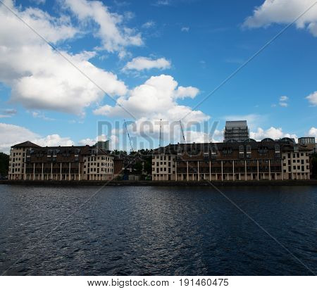Wide River Canal, View Of Residential Buildings On The Other Side Of The Shore, Cityscape, Beautiful