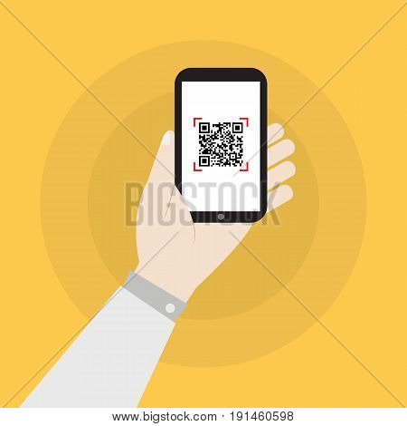 hand holding smartphone with qr code icon vector illustration