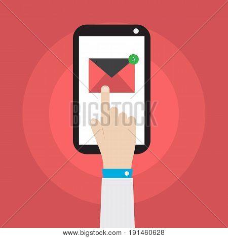 hand holding smartphone with mail icon vector illustration