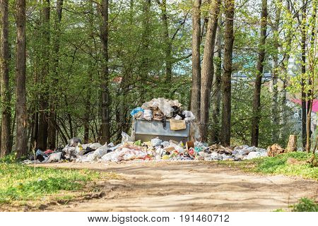 Garbage dump in the forest the pollution of nature