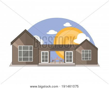 Sea Side Mountain Side Summer Landscape With House Table and Chairs Shiny sun and Clouds in Flat Design.