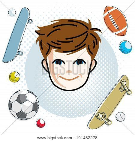 Cute boy face human head. Vector redhead character smiling toddler face features sport and entertainment clipart.