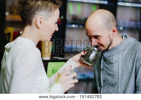 The Seller Offers To Smell Tea To The Client