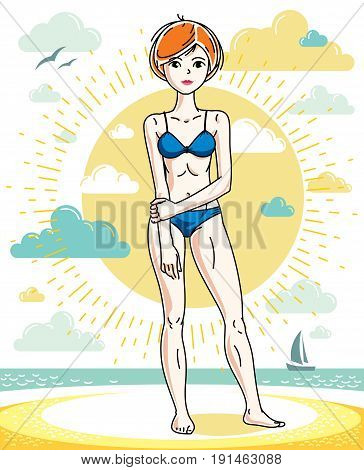 Attractive young red-haired woman posing on tropical beach and wearing blue bikini. Vector nice lady illustration. Summertime theme clipart.