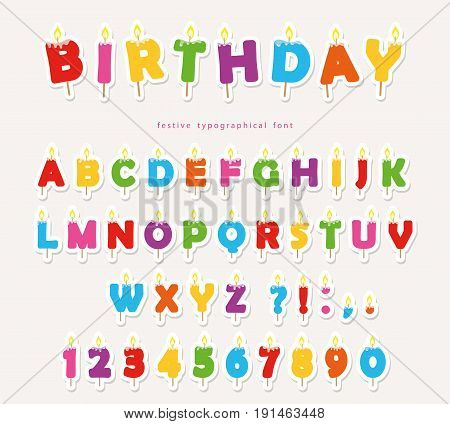 Birthday candles colorful font design. Cutout ABC letters and numbers. vector