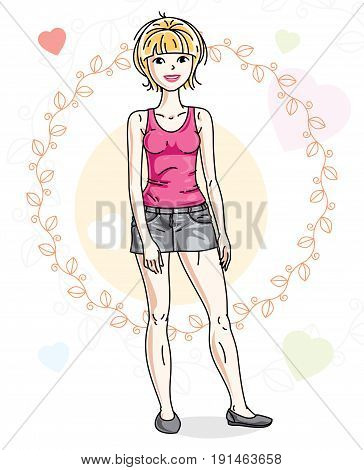 Young beautiful blonde woman posing on bright background with loving hearts and wearing casual clothes. Vector attractive female illustration. Valentine day theme cartoon.