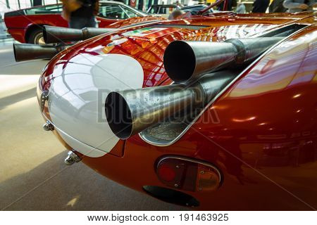 STUTTGART GERMANY - MARCH 02 2017: Exhaust pipes of a sports racing car Maserati Tipo 63 (Birdcage) 1959. Scuderia Serenissima. Europe's greatest classic car exhibition