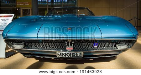 STUTTGART GERMANY - MARCH 02 2017: Grand Tourer car Maserati Ghibli Spyder (AM115) 1970. Europe's greatest classic car exhibition