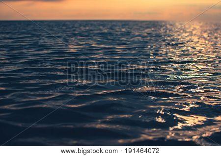 The blurred background sea blue beautiful summer beach