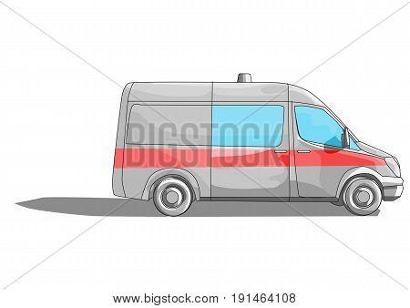 ambulance car isilarwd on a white background