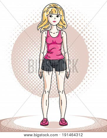 Young beautiful blonde athletic woman posing. Vector illustration of attractive female wearing shorts and T-shirt. Active and healthy lifestyle theme cartoon.