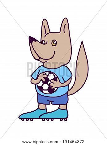 Wolf soccer goalkeeper character wearing shirt shorts and boots. Smiling dog football player in blue soccer uniform holding a football in paws. Association football team logo. Sport game mascot.