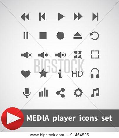 Media Player Icons Set. Multimedia. Isolated. Vector Illustration EPS10