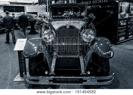 STUTTGART GERMANY - MARCH 02 2017: Luxury car Mercedes-Benz 300 Typ 12/55 PS 1926. Stylization. Toning. Europe's greatest classic car exhibition