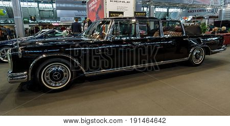 STUTTGART GERMANY - MARCH 02 2017: Full-size luxury car Mercedes-Benz 600 Landaulet (W100). Europe's greatest classic car exhibition