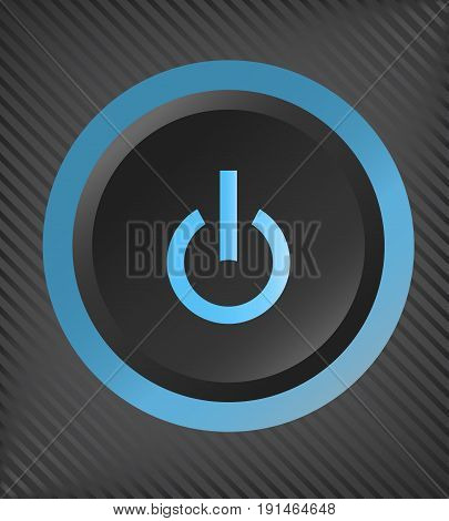 Black plastic power button with blue light . vector EPS10