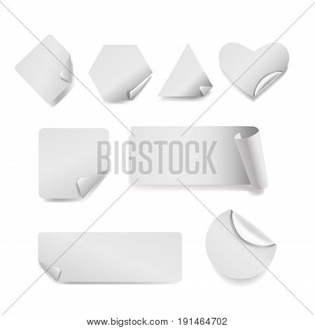Vector Set of white paper stickers on white background. Round, square, rectangular