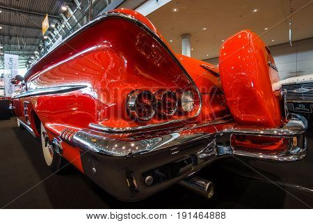 STUTTGART GERMANY - MARCH 02 2017: Fragment of the full-size car Chevrolet Impala convertible 1958. Europe's greatest classic car exhibition