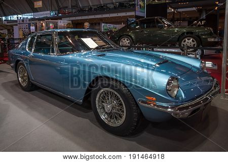 STUTTGART GERMANY - MARCH 02 2017: Grand tourer car Maserati Mistral 3700 (Tipo AM109) 1967. Europe's greatest classic car exhibition