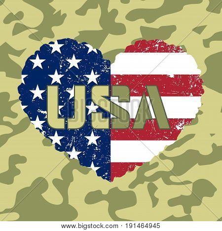 American Flag Heart Military