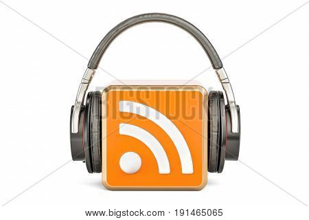 Headphones with RSS logo podcast 3D rendering