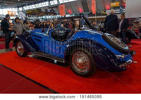 STUTTGART GERMANY - MARCH 02 2017: Sports car Wanderer W25K Roadster 1936. Rear view. Europe's greatest classic car exhibition