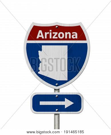 Road trip to Arizona Red white and blue interstate highway road sign with word Arizona and map of Arizona isolated over white 3D Illustration