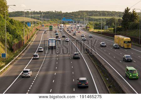 London UK - June 16 2017: Evening traffic on the busiest British motorway M25