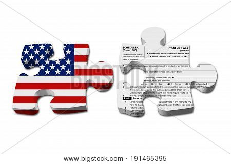 Understanding how to do your business taxes Two puzzle pieces with the flag of the USA and a US Federal tax Schedule C for 1040 income tax form isolated over white 3D Illustration