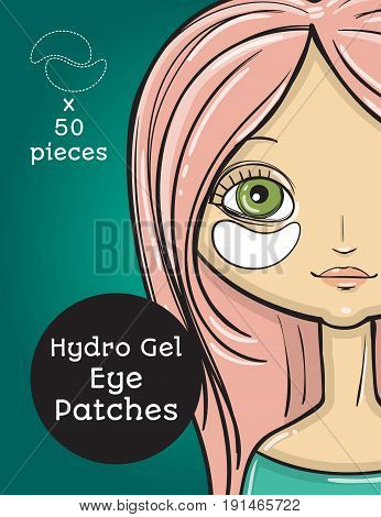 Hydro Gel eye Patches ads. Vector Illustration with girl, package design ready cover