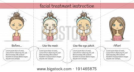 Facial treatment four steps instruction with girl. Vector illustration.