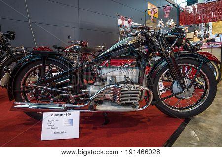 STUTTGART GERMANY - MARCH 02 2017: Motorcycle Zuendapp K800 1936. Europe's greatest classic car exhibition