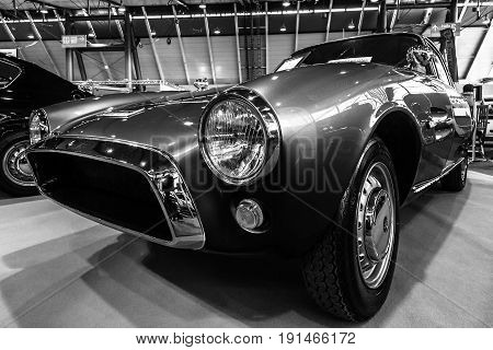 STUTTGART GERMANY - MARCH 02 2017: Sports car Fiat 1500 GT Ghia 1964. Black and white. Europe's greatest classic car exhibition