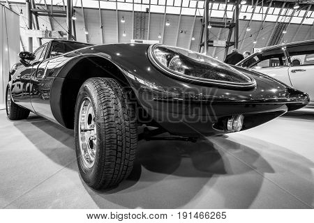 STUTTGART GERMANY - MARCH 02 2017: Sports car Marcos 1500 GT 1967. Black and white. Europe's greatest classic car exhibition