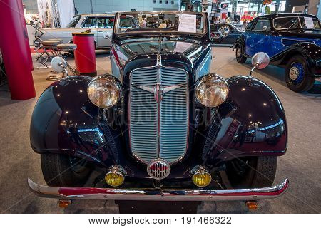 STUTTGART GERMANY - MARCH 02 2017: Vintage car Adler Trumpf Junior 1E Sports Cabriolet 1938. Europe's greatest classic car exhibition