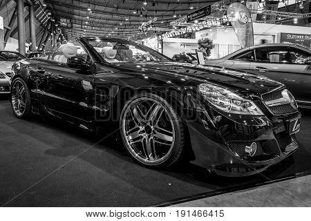 STUTTGART GERMANY - MARCH 02 2017: Grand tourer car Mercedes-Benz SL350 (R230) 2010. Black and white. Europe's greatest classic car exhibition
