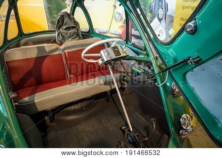 STUTTGART GERMANY - MARCH 02 2017: Interior of the microcar Heinkel Kabine (Trojan 200) 1956. Europe's greatest classic car exhibition