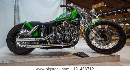 STUTTGART GERMANY - MARCH 02 2017: Classic motorcycle Harley-Davidson Shovelhead 1980. Europe's greatest classic car exhibition