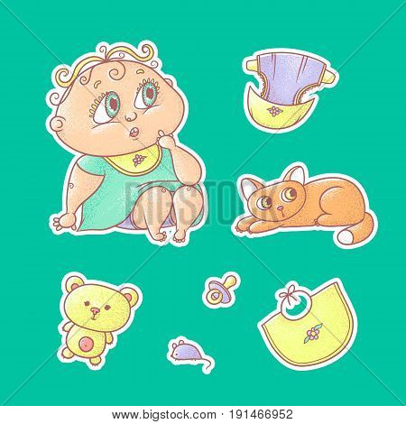 Vector set of color illustrations stickers of the surprised child and the kitten. Hygiene items, baby care and toys. The chubby curly puzzled kid with big eyes in bright clothes and red cat.