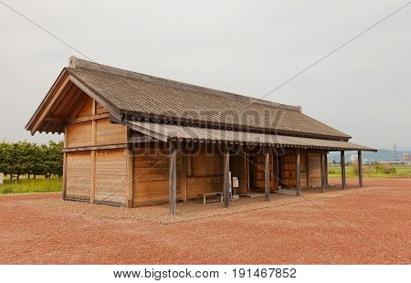 MORIOKA JAPAN - MAY 22 2017: Reconstructed administrative building of Shiwa Castle in Morioka Japan. Castle was erected in 803 against local emishi tribes and abandoned in 811