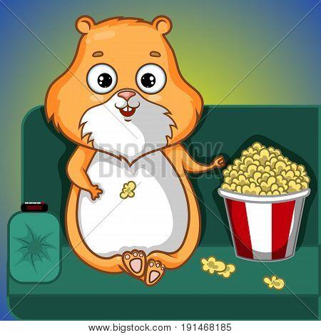 Beige Hamster Character on Sofa with Popcorn, Cartoon Hand Drawn Vector Illustration EPS 10